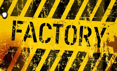 Grungy factory or workshop sign, vector illustration Ilustracja