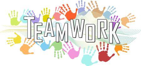 Teamwork, business skills illustration. Teambulding,networking, human resources concept,vector illustration