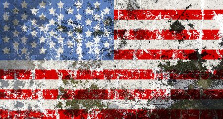damaged distressed grungy USA flag, stars and stripes