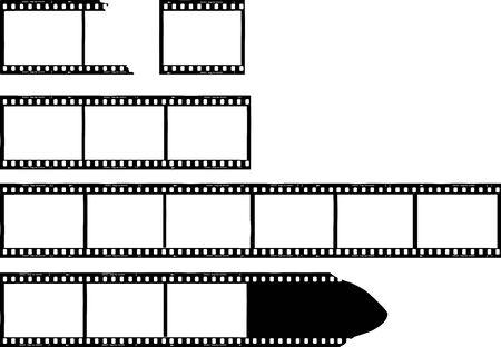 set of grungy photo film frames,filmstrips with free copy space,vector,fictional artwork Ilustración de vector
