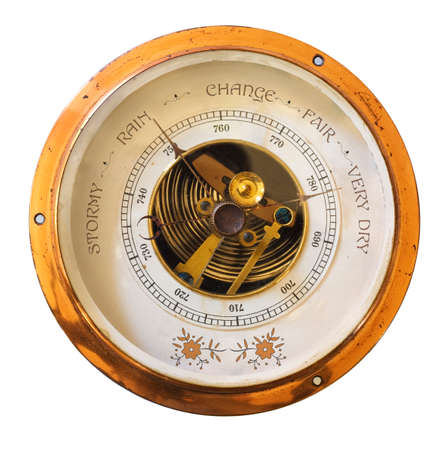 Barometer showing sunny weather and high amtospheric pressure, global warming concept Archivio Fotografico