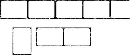 photographic film, vintage picture frames, film stripe, empty frames, free pics space, grunge vector, isolated on white background Vektoros illusztráció