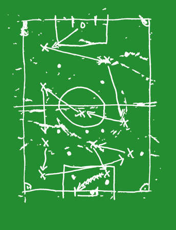 grunge soccer o. football design template, soccer tactics scribble, vector with free copy space