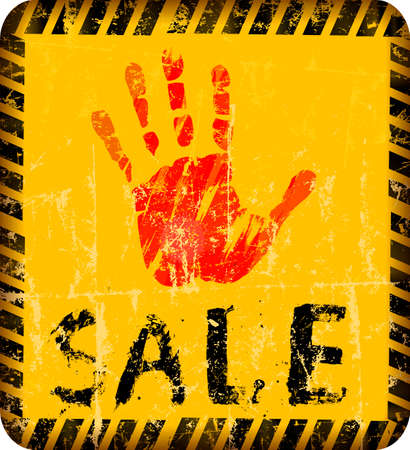 Sale Sign with human hand as eye catcher grungy style, shop, e-commerce sign, vector illustration
