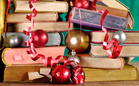 books as christmas gift, christmas present, reading, literature, education, religious holiday concept Zdjęcie Seryjne