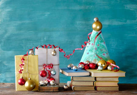 books as christmas gift, christmas present, reading, literature, education, christmas, holiday, christmas tree and decoration