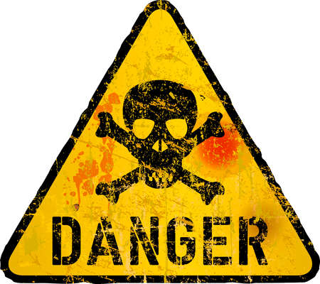grungy style danger sign with skull and bones, vector illustration