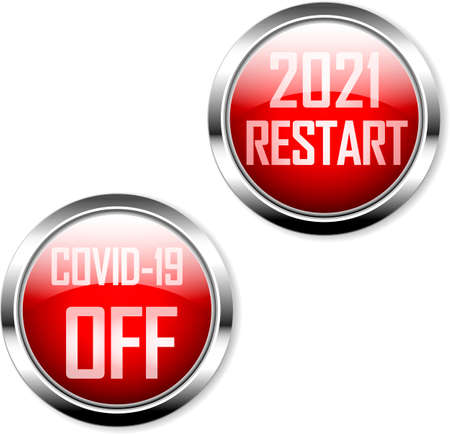 buttons or switches with message restart 2021 and switch off Covid-19, vector illustration
