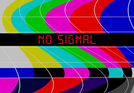 Vintage TV color bars on TV screen, test pattern transmission with caption no signal, offline, disturbance,error sign,vector, website down error sign,vector