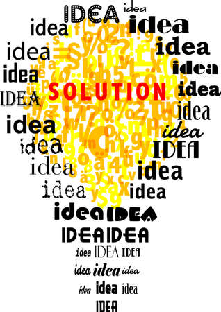 Problem, solution and idea concept,with tag cloud and lightbulb.