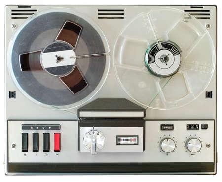 Vintage reel to reel tape recorder, open reel audio recorder. Standard-Bild