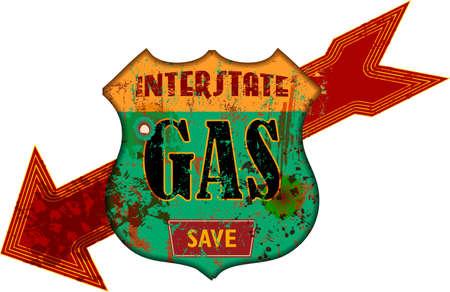 Vintage grungy american interstate highway gas station sign Illustration