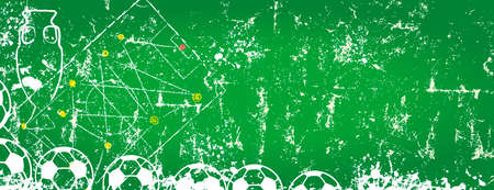 Soccer balls and playing field, super grunge soccer or football mock up