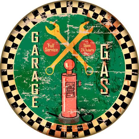 Vintage garage workshop and gas station sign