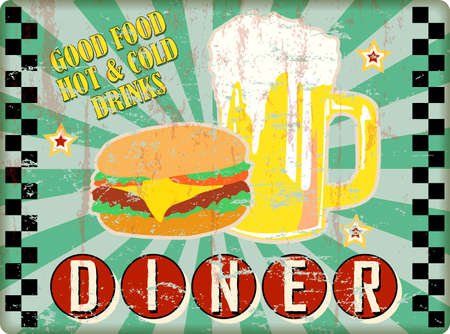 Retro grungy diner sign with beer and hamburgers.vector illustration. fictional artwork.