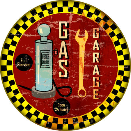 Vintage garage workshop amd gas station sign, grungy and weathered style, vector illustration Illustration