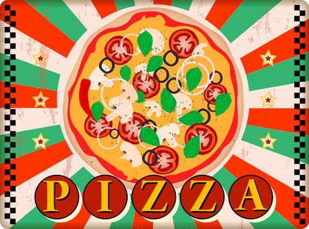 vintage nostalgic pizza and fast food diner sign, vector illustration, fictional artwork.