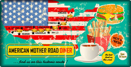 grungy route sixty six diner and fast food sign with road map, retro grungy vector illustration