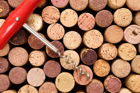 flat lay of many wine corks and corkscew, wine treat and drink mock up