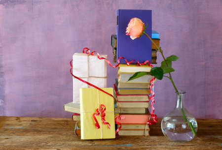 books as birthday present,personal gift,reading,literature,education,personal holiday concept Standard-Bild