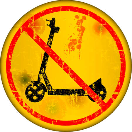 E-Scooter prohibition and warning sign, grungy style, vector illustration Illustration