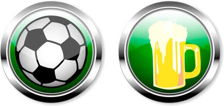 soccer ball and beer, great soccer event this year,soccer or public viewing web mock up, free copy space