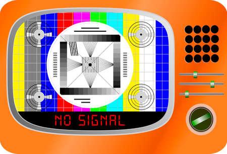 Vintage TV set with test pattern and caption no signal, offline, disturbance,error sign,vector, website down error sign,vector Illustration