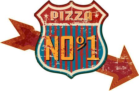 vintage nostalgic pizza and fast food road sign, vector illustration, fictional artwork.