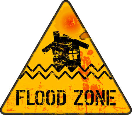 flood warning sign,climate change, inundation, flooding  concept, vector illustration, grungy style