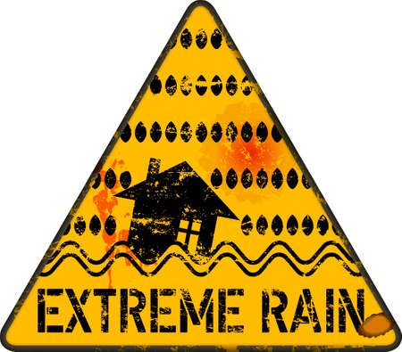 Extreme rain warning sign,climate change, inundation, flooding concept, vector illustration, grungy style