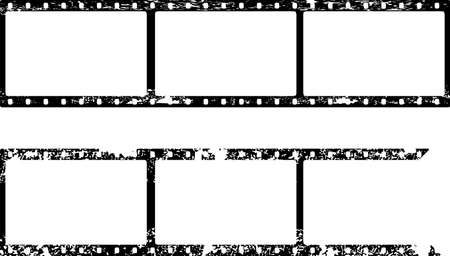 grungy film strip, blank photograph and picture frames, free space for pictures,vector,fictional artwork Illustration