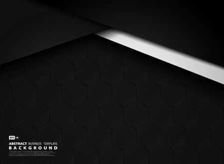 Abstract dark template technology background of hexagonal pattern.