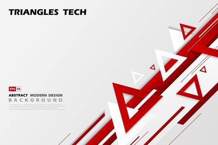 Abstract gradient red triangles tech overlap design of futuristic pattern style.