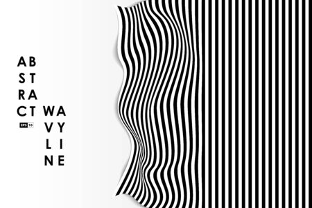 Abstract black and white wavy distort design cover background. Use for ad, poster, artwork, template design, print. illustration vector eps10