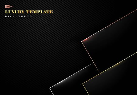Abstract luxury black design artwork with gold rectangle plate pattern decoration. Use for ad, poster, artwork, template design, print. illustration vector eps10