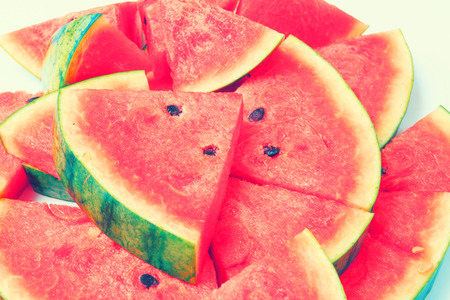 sliced watermelon: Sliced watermelon on white background. Stock Photo