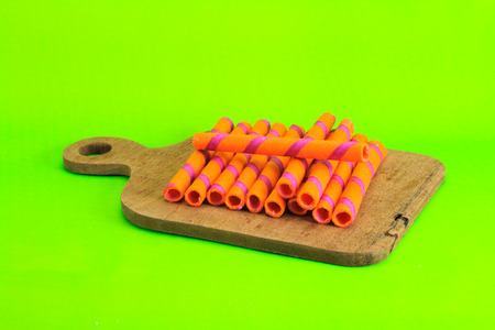 wafer: wafer roll on green background