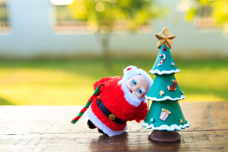 customs and celebrations: Santa Claus with Christmas Tree  on wood table ,in garden background Stock Photo