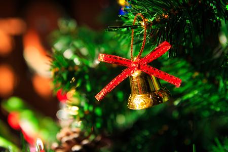 christmas tree ball: Christmas decoration, pine cones,gift,baubles,on christmas tree Stock Photo