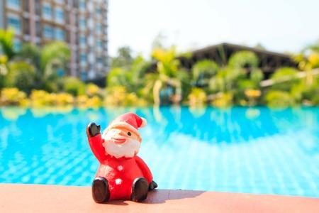 silhouettable: santa doll ,pool background