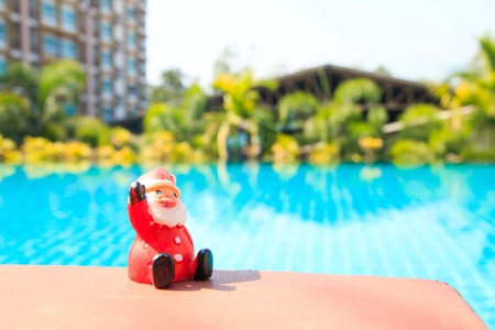 silhouettable: santa doll ,pool background