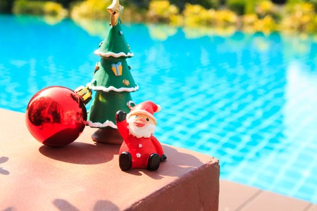 standalone: Decorated Christmas , pool background