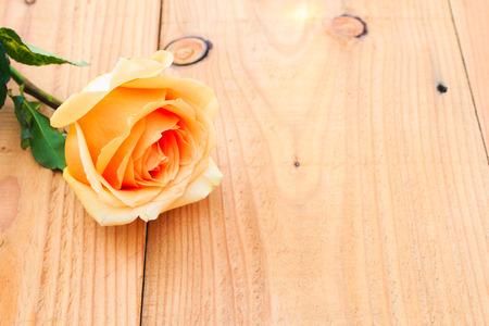 orange rose: orange  rose on wood table,Valentine day