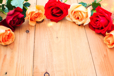 orange roses: Romantic floral frame with Red and orange roses flowers