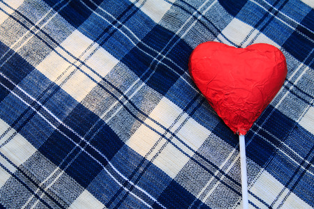 picnic tablecloth: Valentines Chocolate red heart shaped on blue picnic tablecloth