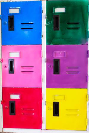 gym room: colorful school lockers