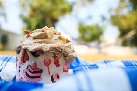 picnic tablecloth: Coffee Cupcake with creamy with Almonds on blue picnic tablecloth in garden.