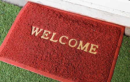 Red Welcome Carpet Stock Photo