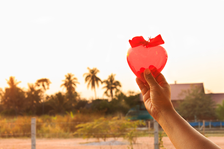 hands holding Red heart  ,in sunset. Stock Photo
