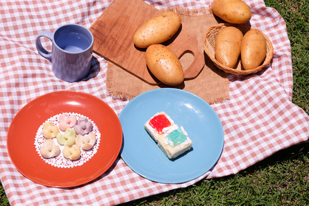 picknick: Picnic for a summer vacation with potato , snack and cake.